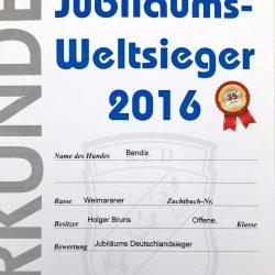 Urkunde Jubiläums-Weltsieger-Sieger 2016 Bendix